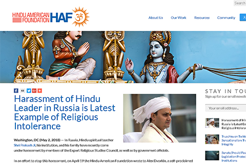 Hindu American Foundation sent letter to A. Dvorkin